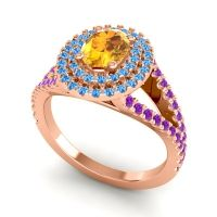 Ornate Oval Halo Dhala Citrine Ring with Swiss Blue Topaz and Amethyst in 14K Rose Gold
