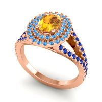 Ornate Oval Halo Dhala Citrine Ring with Swiss Blue Topaz and Blue Sapphire in 14K Rose Gold