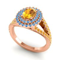 Ornate Oval Halo Dhala Citrine Ring with Swiss Blue Topaz in 14K Rose Gold