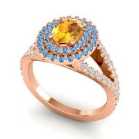 Ornate Oval Halo Dhala Citrine Ring with Swiss Blue Topaz and Diamond in 14K Rose Gold