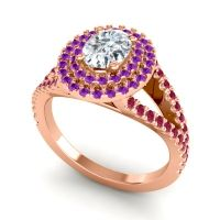 Ornate Oval Halo Dhala Diamond Ring with Amethyst and Ruby in 14K Rose Gold