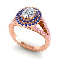 Ornate Oval Halo Dhala Diamond Ring with Blue Sapphire and Pink Tourmaline in 14K Rose Gold