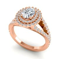 Ornate Oval Halo Dhala Diamond Ring in 14K Rose Gold