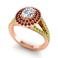 Ornate Oval Halo Dhala Diamond Ring with Garnet and Peridot in 18K Rose Gold