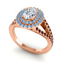 Ornate Oval Halo Dhala Diamond Ring with Swiss Blue Topaz and Garnet in 18K Rose Gold