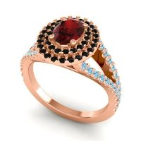 Ornate Oval Halo Dhala Garnet Ring with Black Onyx and Aquamarine in 18K Rose Gold