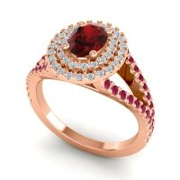 Ornate Oval Halo Dhala Garnet Ring with Diamond and Ruby in 14K Rose Gold