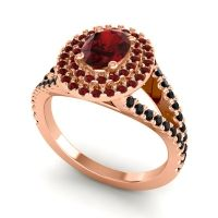 Ornate Oval Halo Dhala Garnet Ring with Black Onyx in 18K Rose Gold