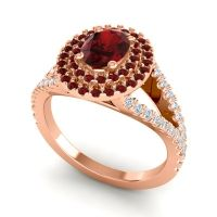 Ornate Oval Halo Dhala Garnet Ring with Diamond in 18K Rose Gold
