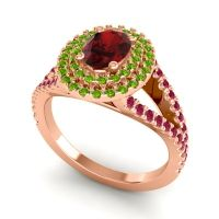 Ornate Oval Halo Dhala Garnet Ring with Peridot and Ruby in 18K Rose Gold