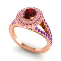 Ornate Oval Halo Dhala Garnet Ring with Pink Tourmaline and Amethyst in 18K Rose Gold