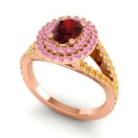 Ornate Oval Halo Dhala Garnet Ring with Pink Tourmaline and Citrine in 18K Rose Gold