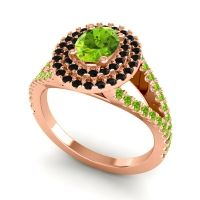 Ornate Oval Halo Dhala Peridot Ring with Black Onyx in 18K Rose Gold
