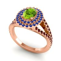 Ornate Oval Halo Dhala Peridot Ring with Blue Sapphire and Garnet in 14K Rose Gold