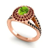 Ornate Oval Halo Dhala Peridot Ring with Garnet and Black Onyx in 18K Rose Gold