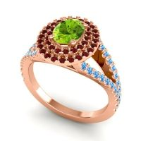 Ornate Oval Halo Dhala Peridot Ring with Garnet and Swiss Blue Topaz in 18K Rose Gold