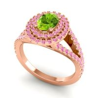 Ornate Oval Halo Dhala Peridot Ring with Pink Tourmaline in 18K Rose Gold