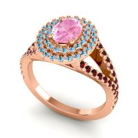 Ornate Oval Halo Dhala Pink Tourmaline Ring with Aquamarine and Garnet in 18K Rose Gold