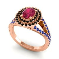 Ornate Oval Halo Dhala Ruby Ring with Black Onyx and Blue Sapphire in 14K Rose Gold