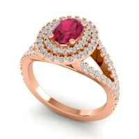Ornate Oval Halo Dhala Ruby Ring with Diamond in 14K Rose Gold