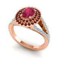 Ornate Oval Halo Dhala Ruby Ring with Garnet and Aquamarine in 18K Rose Gold