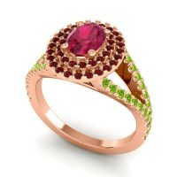Ornate Oval Halo Dhala Ruby Ring with Garnet and Peridot in 18K Rose Gold
