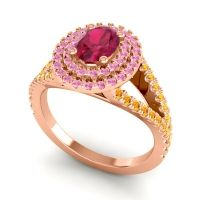 Ornate Oval Halo Dhala Ruby Ring with Pink Tourmaline and Citrine in 18K Rose Gold