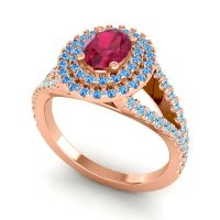 Ornate Oval Halo Dhala Ruby Ring with Swiss Blue Topaz and Aquamarine in 18K Rose Gold