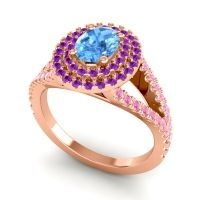 Ornate Oval Halo Dhala Swiss Blue Topaz Ring with Amethyst and Pink Tourmaline in 14K Rose Gold