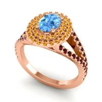 Ornate Oval Halo Dhala Swiss Blue Topaz Ring with Citrine and Garnet in 18K Rose Gold