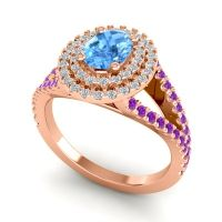 Ornate Oval Halo Dhala Swiss Blue Topaz Ring with Diamond and Amethyst in 14K Rose Gold