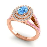 Ornate Oval Halo Dhala Swiss Blue Topaz Ring with Diamond and Pink Tourmaline in 18K Rose Gold