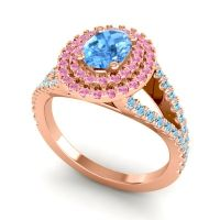 Ornate Oval Halo Dhala Swiss Blue Topaz Ring with Pink Tourmaline and Aquamarine in 18K Rose Gold