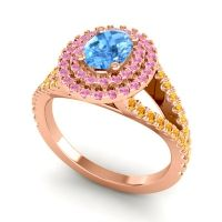 Ornate Oval Halo Dhala Swiss Blue Topaz Ring with Pink Tourmaline and Citrine in 14K Rose Gold