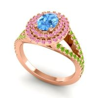 Ornate Oval Halo Dhala Swiss Blue Topaz Ring with Pink Tourmaline and Peridot in 14K Rose Gold
