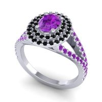 Ornate Oval Halo Dhala Amethyst Ring with Black Onyx in Palladium