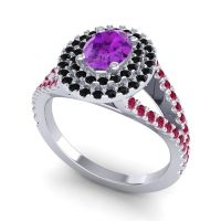Ornate Oval Halo Dhala Amethyst Ring with Black Onyx and Ruby in 14k White Gold