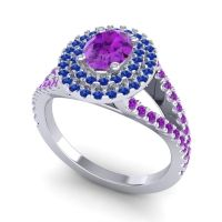 Ornate Oval Halo Dhala Amethyst Ring with Blue Sapphire in 14k White Gold
