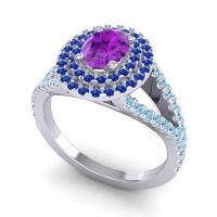 Ornate Oval Halo Dhala Amethyst Ring with Blue Sapphire and Aquamarine in 14k White Gold