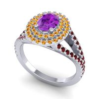 Ornate Oval Halo Dhala Amethyst Ring with Citrine and Garnet in 18k White Gold