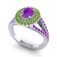 Ornate Oval Halo Dhala Amethyst Ring with Peridot in 14k White Gold