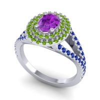 Ornate Oval Halo Dhala Amethyst Ring with Peridot and Blue Sapphire in Palladium