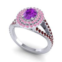 Ornate Oval Halo Dhala Amethyst Ring with Pink Tourmaline and Garnet in Platinum