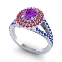 Ornate Oval Halo Dhala Amethyst Ring with Ruby and Blue Sapphire in 14k White Gold