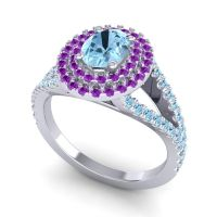 Ornate Oval Halo Dhala Aquamarine Ring with Amethyst in Palladium
