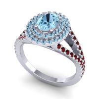 Ornate Oval Halo Dhala Aquamarine Ring with Garnet in 18k White Gold