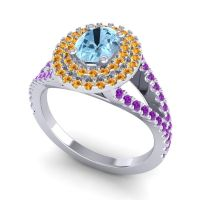 Ornate Oval Halo Dhala Aquamarine Ring with Citrine and Amethyst in 18k White Gold