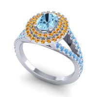 Ornate Oval Halo Dhala Aquamarine Ring with Citrine and Swiss Blue Topaz in 18k White Gold