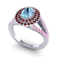 Ornate Oval Halo Dhala Aquamarine Ring with Garnet and Pink Tourmaline in 18k White Gold
