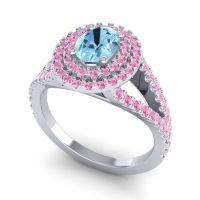 Ornate Oval Halo Dhala Aquamarine Ring with Pink Tourmaline in 18k White Gold